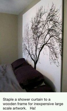 Shower curtain stapled to wooden frame