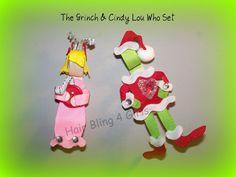 The Grinch & Cindy Lou Who by BarrettesbyBridget on Etsy, $12.00 #Seuss