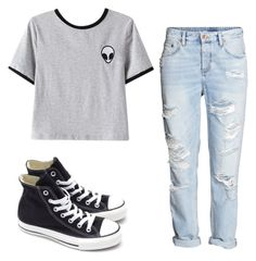 """So alien "" by gemini-lady ❤ liked on Polyvore featuring Chicnova Fashion, H&M and Converse"