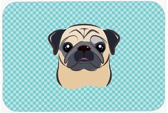 Checkerboard Blue Fawn Pug Mouse Pad - Hot Pad or Trivet BB1200MP #artwork #artworks