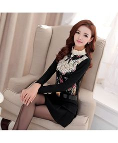 Lace Top With Crocheted Mandarin Collar YRB0594