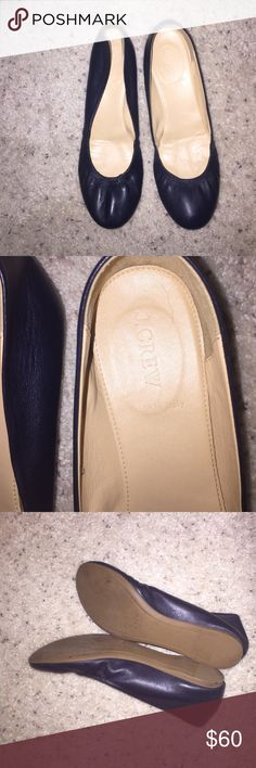 J. Crew Black Leather Flats Plain black flats from J. Crew. These shoes have maybe been worn one or two times, so there's no flaws. No trades but open to reasonable offers. J. Crew Shoes Flats & Loafers