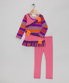 Take a look at this Pink & Purple Stripe Ruffle Tunic & Leggings - Toddler & Girls by Love Loves Luv on #zulily today!