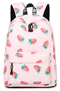 1a409250d1bf New Oflamn School Backpack Girls Cute Floral Bookbag College Bags Women  Daypack (Strawberries) online shopping
