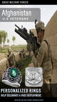 U.S. Soldiers on Patrol in Afghanistan  Attention US Veterans Help celebrate your past deployments with our personalized Veterans Rings.  Personalise online in three easy steps. see more here: http://www.military-rings.com/deployment-rings-highlight-specific-military-campaigns/  Add your old unit insignia + decals for previous deployments like operation enduring freedom  #Afghanistan #military #USmilitary #USVeterans Afghanistanwar