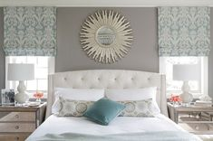 Pretty gray and soft turquoise Transitional Bedroom by Minhnuyet Hardy Interiors