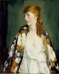 """Oil On Canvas Portrait of """"Edna"""" by Robert Henri, x Edna Smith was a professional model who posed for Henri. Los Angeles County Museum of Art Edward Hopper, American Realism, American Artists, William Glackens, New York City, Ashcan School, Robert Henri, Oil Painting Reproductions, Manet"""