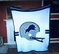 detroit lions crochet patterns | Crochet Football Afghans, blankets, referee, sports