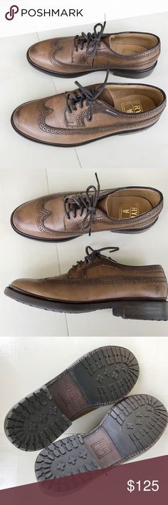 FRYE WINGTIP OXFORD SZ 8.5 brown LEATHER shoes Unbelievable quality..! FRYE WINGTIP OXFORD SHOES. In sz 8.5. So chic..! In excellent condition.  Oiled suede construction Traditional wingtip styling Smooth leather lining Rubber lug sole Lightly cushioned leather footbed Goodyear welt construction Waxed fabric laces n12 Frye Shoes Flats & Loafers