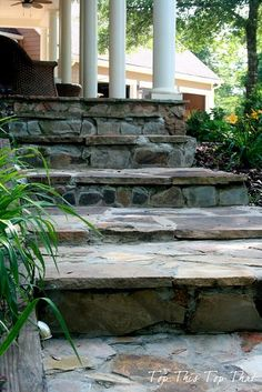 DIY Stone Steps - looks like CT front steps Rock Steps, Stone Steps, Dream Garden, Home And Garden, Outdoor Spaces, Outdoor Living, Garden Steps, Outdoor Projects, Stepping Stones