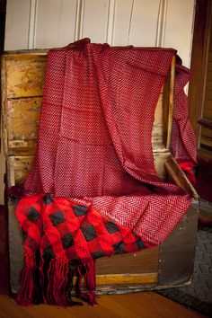 Red Rayon Reboso (shawl) from Mexico with black checkered fringe.