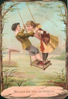 Cacao van Houten vintage advertising card