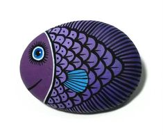 Painted stone small purple fish Is Hand Painted with high