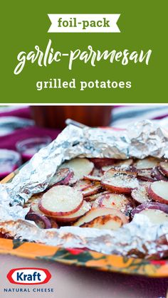 Foil-Pack Garlic-Parmesan Grilled Potatoes – You'll never need another grilled potatoes recipe thanks to this dish! Plus, the foil packet makes for an easy cleanup. Foil Packet Dinners, Foil Pack Meals, Foil Dinners, Foil Packets, Potato Dishes, Vegetable Dishes, Vegetable Recipes, Great Recipes, Favorite Recipes