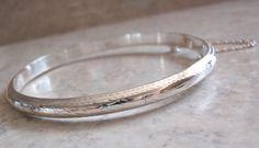 Thin Hinged Bangle Sterling Silver Engraved Vintage 011816YU by cutterstone on Etsy #banglebracelet #sterlingsilver #hingedbangle #thin #engraved #vintage