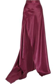Michael Lo Sordo - Empress Asymmetric Silk-satin Maxi Skirt - Merlot - UK12