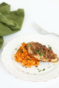 """Pumpkin-Goat Cheese Sweet Potato """"Risotto"""" with Maple-Pecan Crusted Pork"""