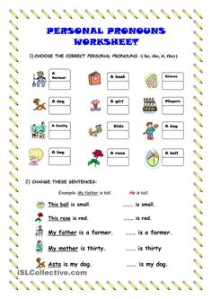 Personal pronouns - worksheet - kindergarten level