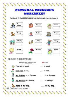 Personal pronouns - worksheet - kindergarten level
