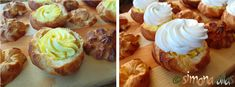 Cream Puffs (Choux à la Crème) - a fine, vintage and aristocratic dessert, made up of a choux dough, filled with vanilla custard and whipped cream. Romanian Food, Vanilla Custard, French Desserts, Food Cakes, Creme, Cake Recipes, Deserts, Muffin, Breakfast