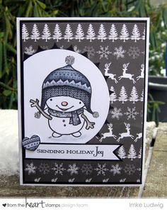 """Black and White Christmas Card using """"Hello Snowman"""" from {From the Heart Stamps}"""