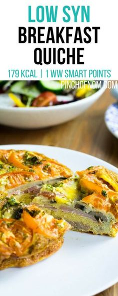 Low Syn Breakfast Quiche | Pinch Of Nom Slimming World Recipes 179 kcal | 0.5 Syn | 1 Weight Watchers Smart Points