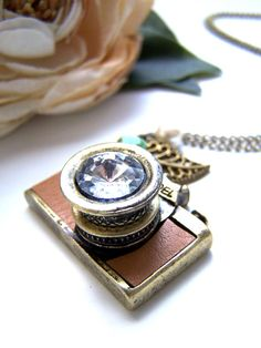 the tan leather camera necklace by barberryandlace on Etsy, $23.00