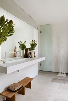 50 Amazing Scandinavian Bathroom Designs - like the idea of the trough sink with two faucets