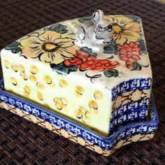 Mouse Cheese Dish Polish Pottery