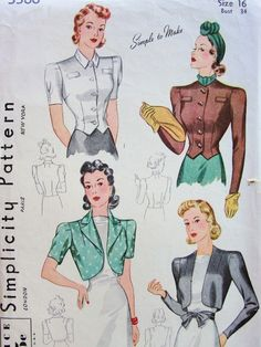 1940 LOVELY Bolero Jackets and Blouse Pattern SIMPLICITY 3366 Blouse and 3 Wonderful Style Versions Bust 34 SIMPLE To Make Vintage Sewing Pattern - Authentic vintage sewing patterns: This is a fabulous original dress making pattern, not a copy. Dress Making Patterns, Coat Patterns, Blouse Patterns, Vintage Inspired Dresses, Vintage Outfits, 40s Outfits, 1940s Fashion, Vintage Fashion, Classic Fashion