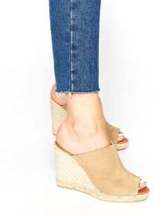 Beige Suede Espadrille Wedge Sandals by KG by Kurt Geiger