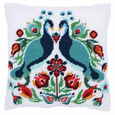 A traditional design with stylised peacocks and flowers.