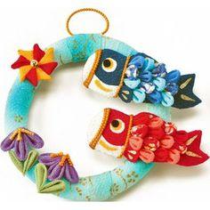 ちりめん手芸キット・つまみ細工で作る 輪っかの鯉のぼり Book Crafts, Diy And Crafts, Paper Crafts, Sarah Kay, Japanese Sewing, Japanese Style, Kanzashi, Craft Accessories, Child Day