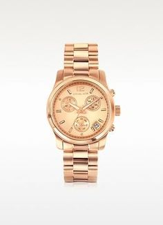 Michael Kors Runway Rose Gold Plated Stainless Steel Bracelet Women's Watch on shopstyle.com