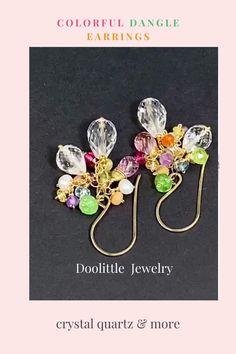 Dangle Earrings, Dainty Earrings, Cluster Earrings, Earrings Handmade, Quartz Crystal, Dangles, Gemstones, Gemstone Colors, Crystals