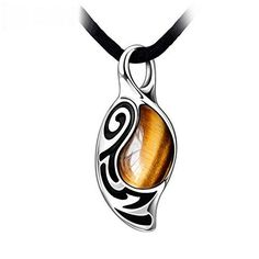 RUINUO Mens Brief Vintage Style The Faith Tigers eyes Stone Pendant Necklace #RUINUO