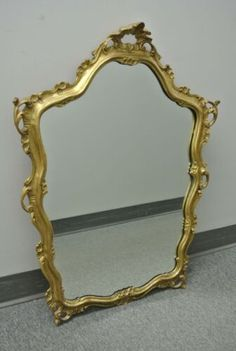 """VINTAGE MIRROR w/ GOLD FRAME MADE IN ITALY ITALIAN STYLE 32"""" x 24"""" 