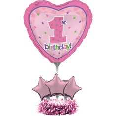 Bulk 1st Birthday Girl Balloon Centerpiece 4 ct - Napkins.com