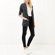 Navy stripe inverse collar blazer - blazers - coats / jackets - women