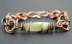 Lovely Bohemian chic bracelet handmade with Jade and copper wire by EndeavorsJewelry.  Re-pin for later!