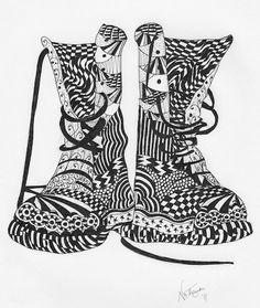 Dr Marten docs chaussures bottes carte de voeux par ForeverTangles