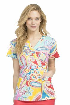 Med Couture Milan Print Top in 'Spring Into Paisley' from Med Couture Scrubs