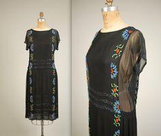 années 1920 clapet mousseline soie robe • vintage des années 20 robe perlée robe de soirée