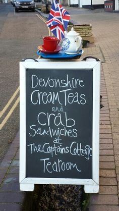 This a wonderful cafe called the Captain's Cafe in the town of Beer, Devon, UK.  I'd definitely would stop in for those crab sandwiches, and the tea, of course...