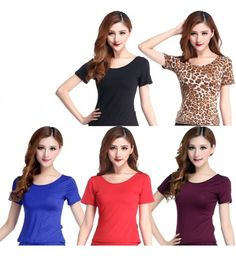 Black purple red royal blue leopard printed round neck short sleeves competition performance women's latin ballroom salsa practice gymnastics dance tops blouses