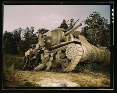 M-3 tank and crew using small arms, Ft. Knox, Ky.  (LOC)