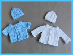 Jack & Jill Baby Jacket ~ Extra Small ~ chest ~ Short or Long Sleeves Jack & Jill Baby Jacket ~ Extra Small ~ chest Jack & Jill ~ Extra-Small Premature Baby Jacket Si Preemie Clothes, Knitting Dolls Clothes, Baby Doll Clothes, Doll Clothes Patterns, Baby Cardigan Knitting Pattern Free, Baby Hats Knitting, Baby Knitting Patterns, Free Knitting, Crochet Patterns