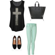 cross shirt with a pop of color