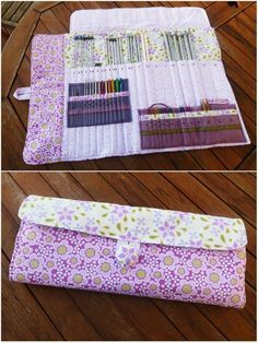 28 Ideas for knitting needles case bags 28 Ideas for knitting needles case bags Sewing Kit, Sewing Hacks, Sewing Tutorials, Sewing Projects, Sewing Patterns, Crochet Hook Case, Knitting Needle Case, Knitting Needles, Diy Knitting Needle Storage