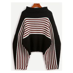 Black Striped Drop Shoulder Funnel Neck Sweater (€24) ❤ liked on Polyvore featuring tops, sweaters, funnel sweater, drop shoulder sweater, stripe top, drop shoulder tops and funnel neck top